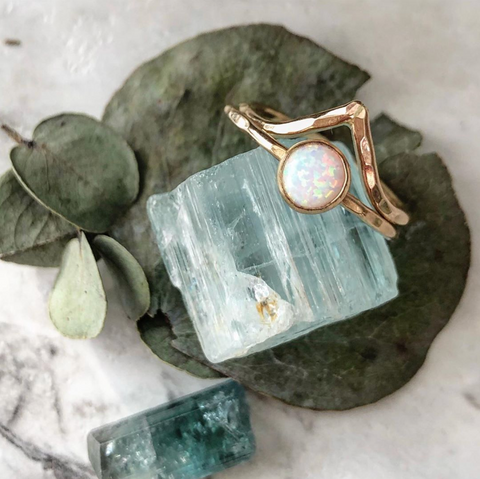 strut jewelry gold filled opal ring
