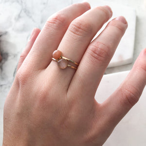 Peach Moonstone Stacking Ring - 14k gold-fill