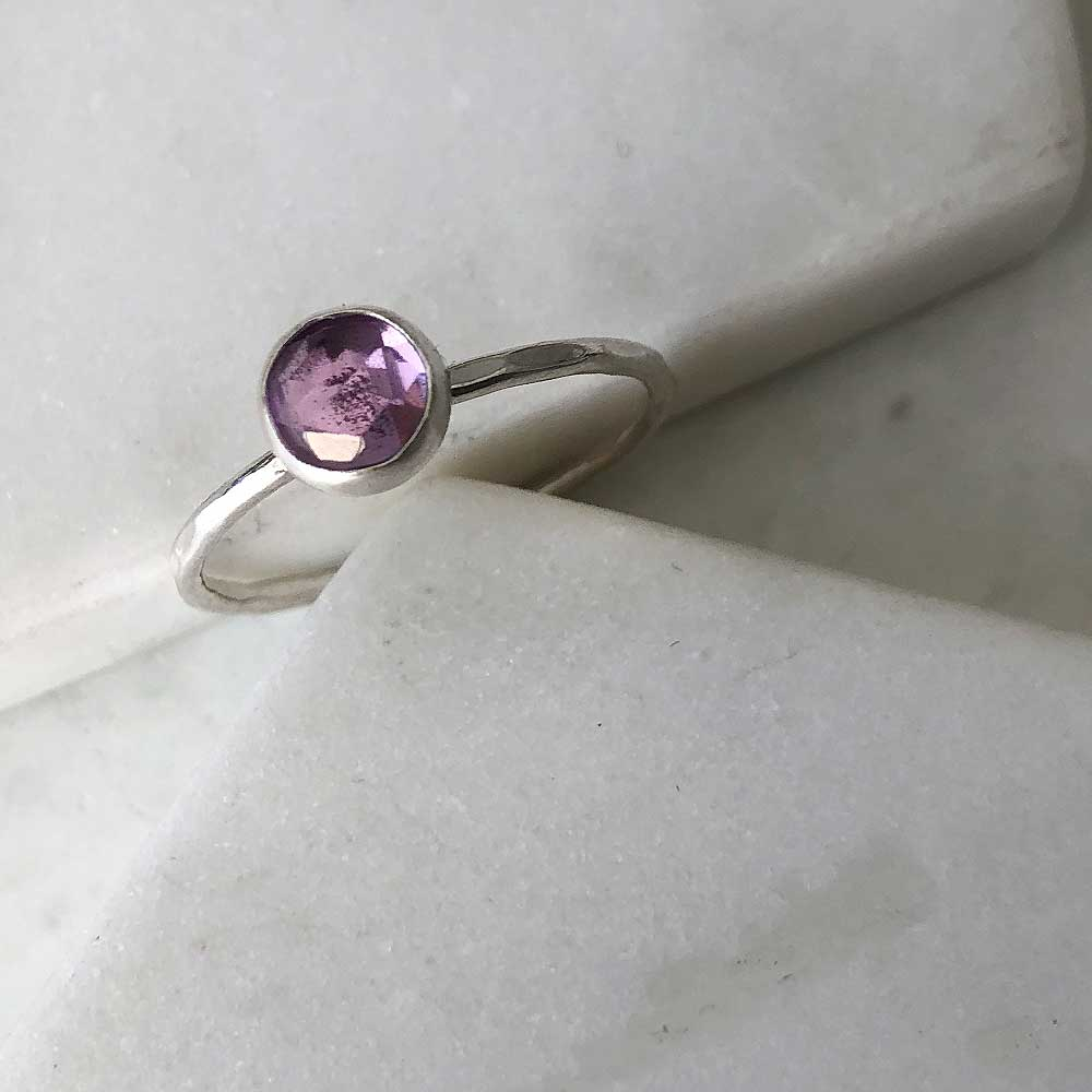 strut jewelry amethyst stacking ring sterling silver