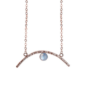 CLEARANCE Arc Pendant Necklace with Gemstone