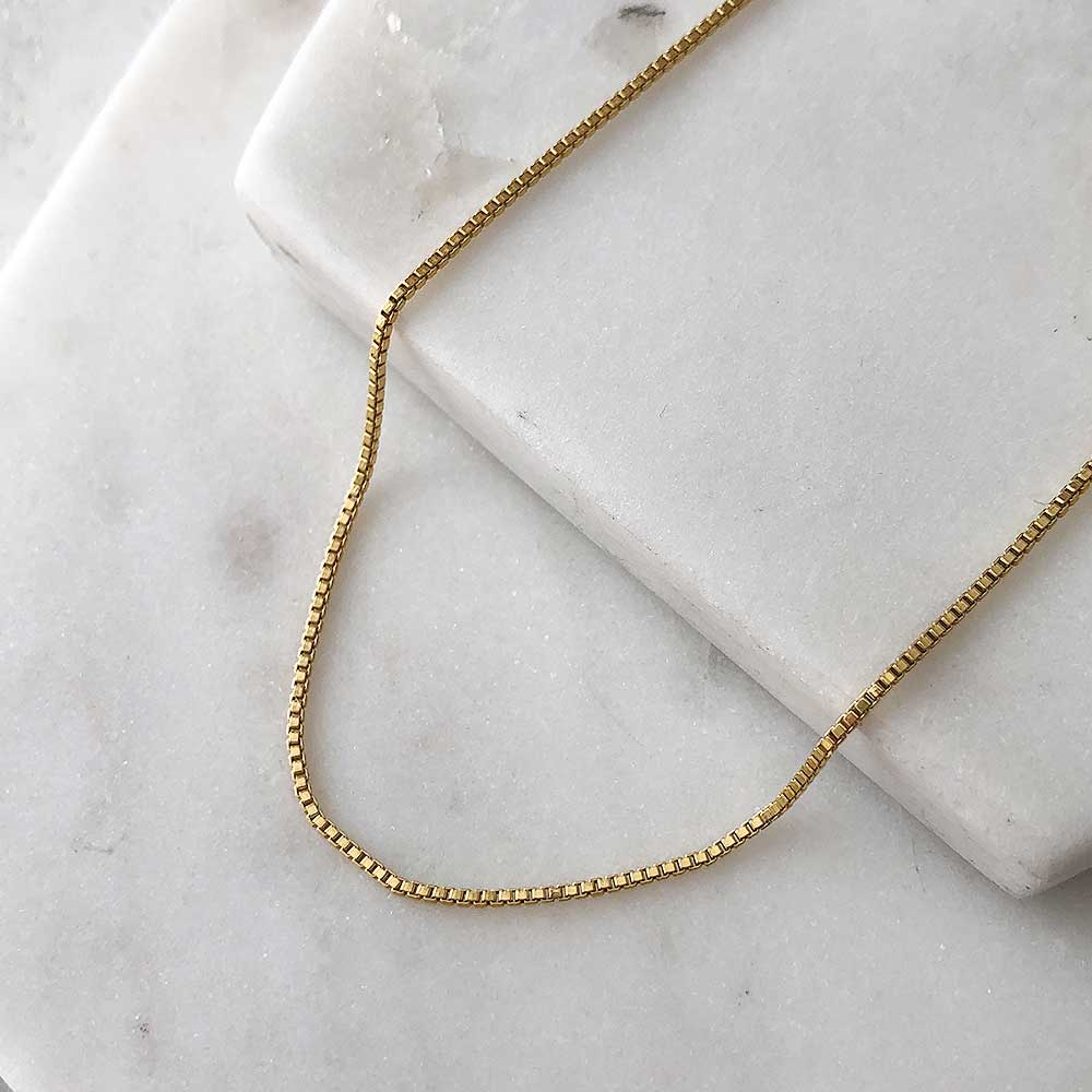strut jewelry baby box chain necklace 14k gold fill