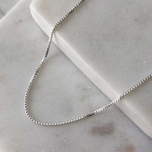 strut jewelry baby box chain necklace sterling silver