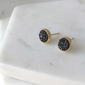 strut jewelry carbon black druzy stud earrings