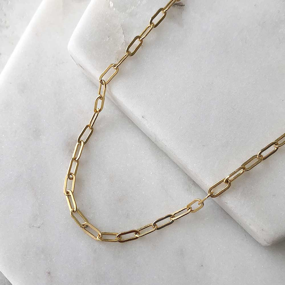 strut jewelry connection chain necklace small flat link 14k gold fill