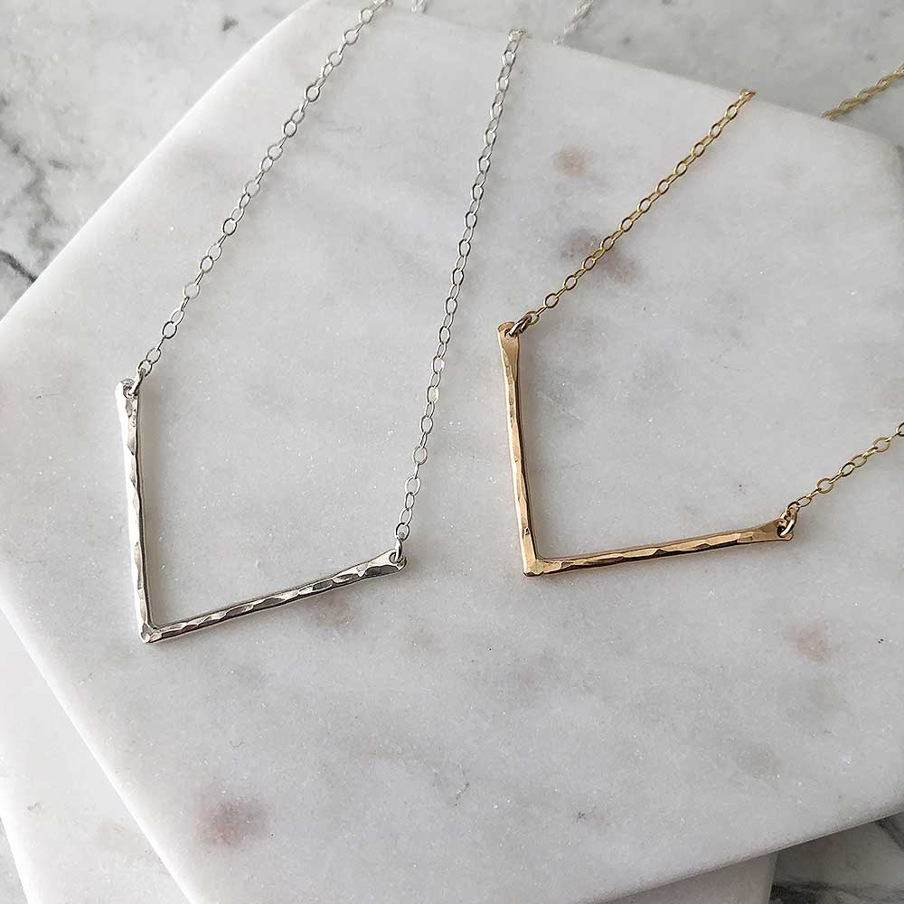 strut jewelry chevron pendant necklace sterling silver 14k gold fill