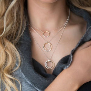 strut jewelry / Gold-fill + Silver Fusion Faceted Double Circle Necklace