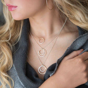 strut jewelry / Gold-fill + Silver Fusion Faceted Circle Necklace