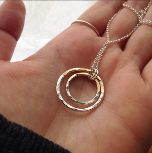 strut jewelry gold fill silver fusion hammered double circle necklace