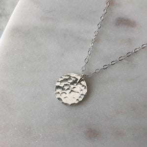 strut jewelry small hammered medallion pendant necklace sterling silver