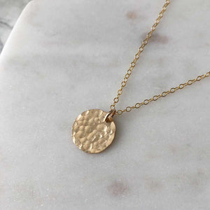 strut jewelry small hammered medallion pendant necklace 14k gold fill