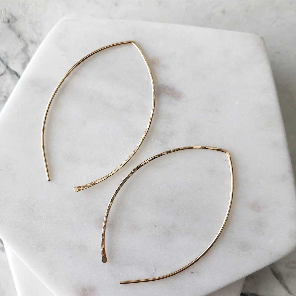 strut jewelry hammered leaf hoops 14k gold fill