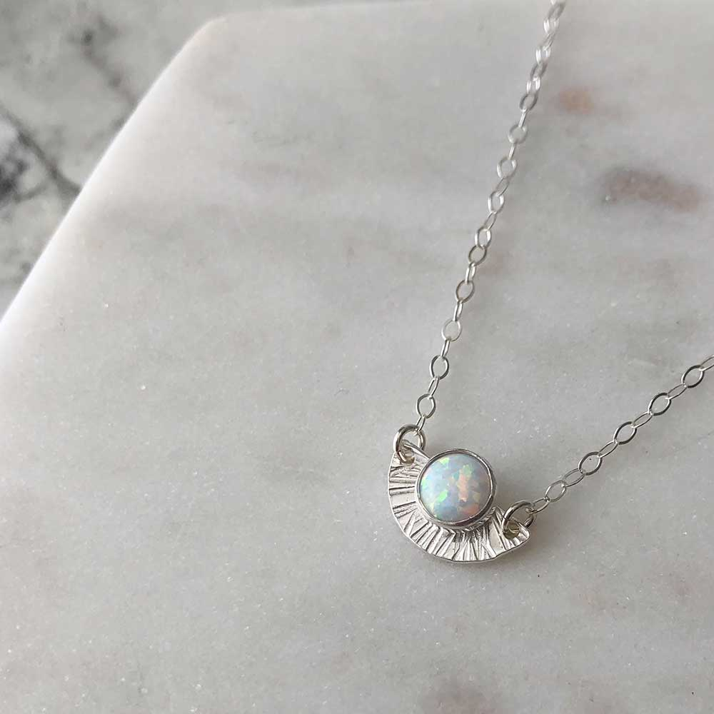 strut jewelry opal sunburst necklace sterling silver