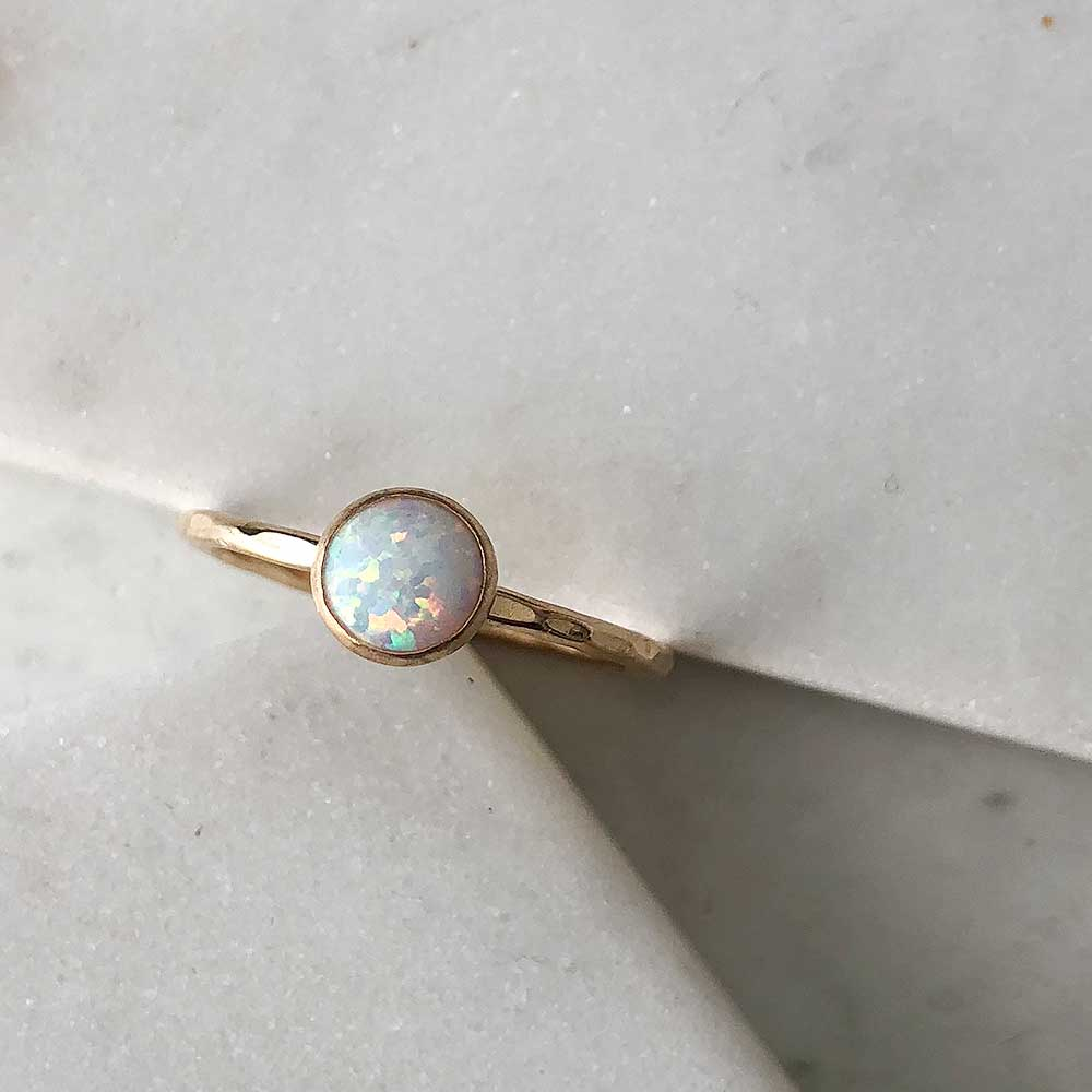 strut jewelry opal stacking ring 14k gold fill