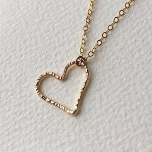 strut jewelry open hearted pendant necklace 14k gold fill