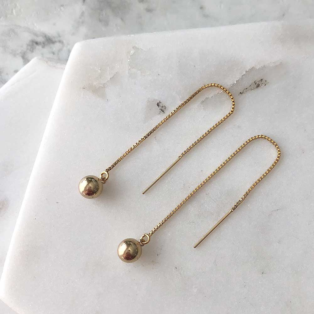 strut jewelry orb threader earrings 14k gold fill