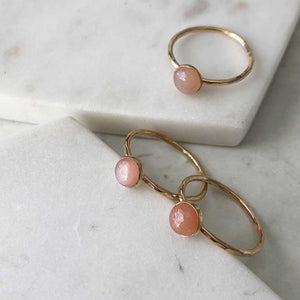 strut jewelry peach moonstone stacking ring 14k gold fill