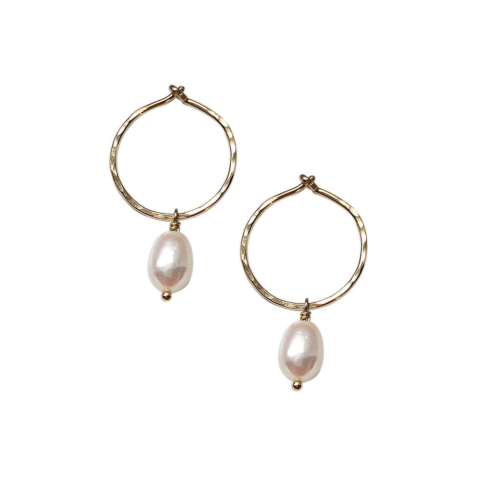 strut jewelry / Small Pearl Hoops - Gold-fill