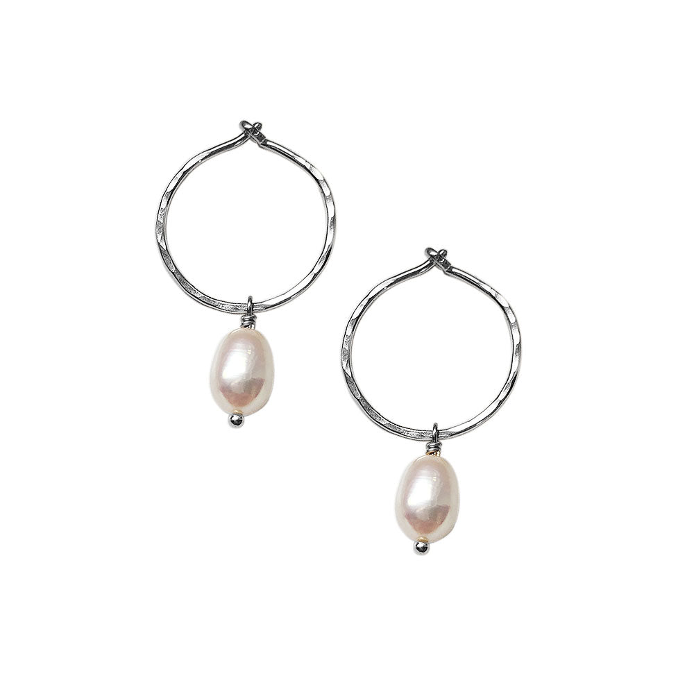 strut jewelry / Small Pearl Hoops - Silver
