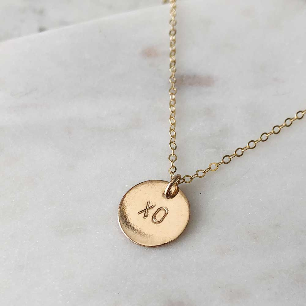 strut jewelry xo pendant necklace 14k gold fill