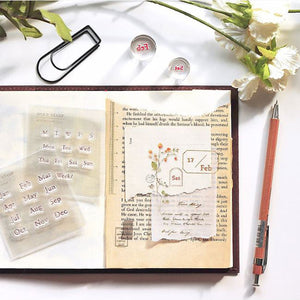 MU Print Stamp Set For Acrylic Blocks - Collage Stamp 2001 - Months