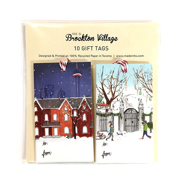 Made In Brockton Village Gift Tags - Snowy Night