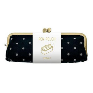 Midori Pen Pouch with Clasp Closure Metal Frame - Dot Pattern