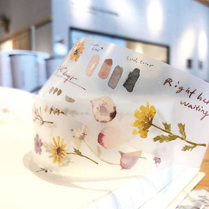 Pre Order Pion - 3.5cm PET Tape with White Ink - Flower Tape