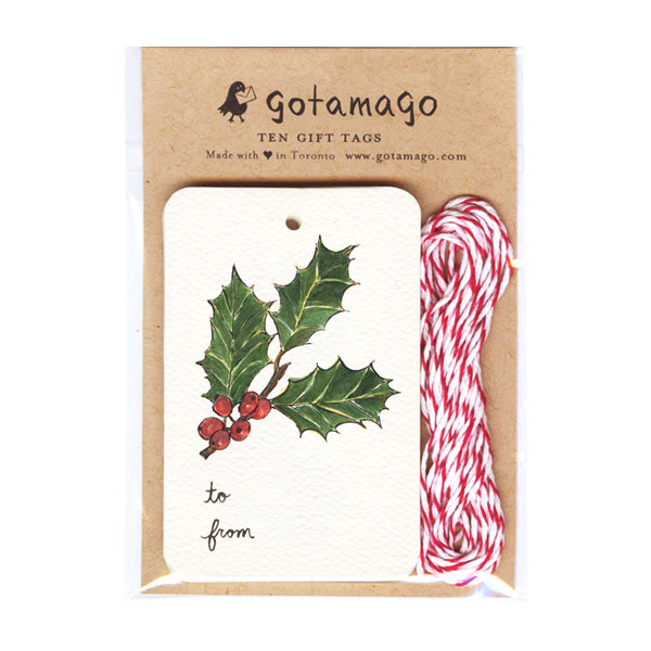 Gotamago Gift Tags Set of 10 - Holly