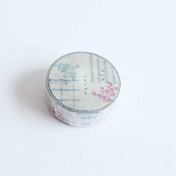 "Yohaku Washi Tape - YC-004 CHECK & STRIPE / Yohaku ""Winter Gift 2020"" Harishigoto"