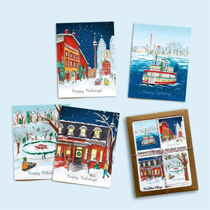 Made In Brockton Village Assorted Box of 8 - 'Toronto Historic Holiday' Greeting Cards