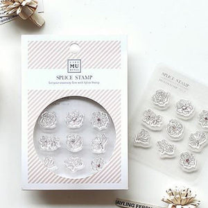 MU Print Stamp Set For Acrylic Blocks - Icon Stamp  2009 - Small Flower