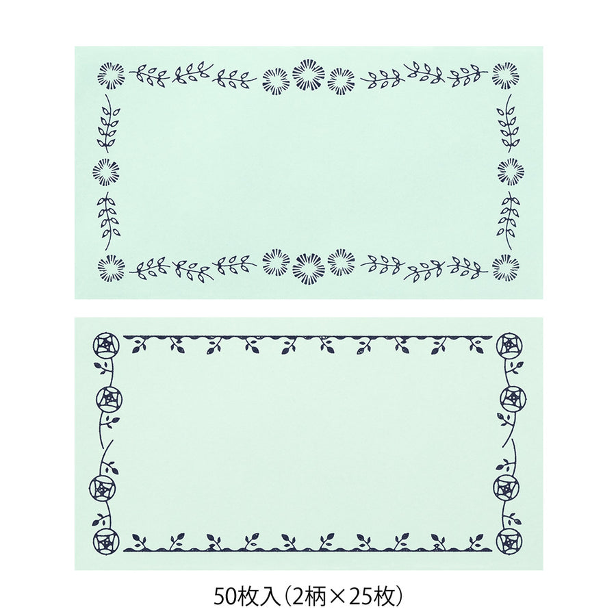 Midori Message Letter Pad - Flower Print Mint Blue
