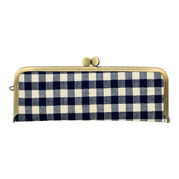 Flat Pen Case with Clasp Closure Metal Frame - Checkered