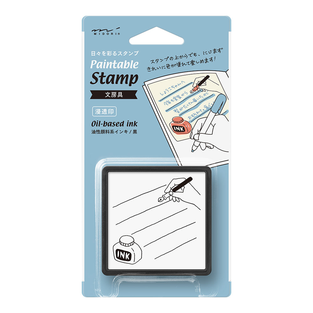 Midori Pre-Inked Paintable Stamp - List (Ink)