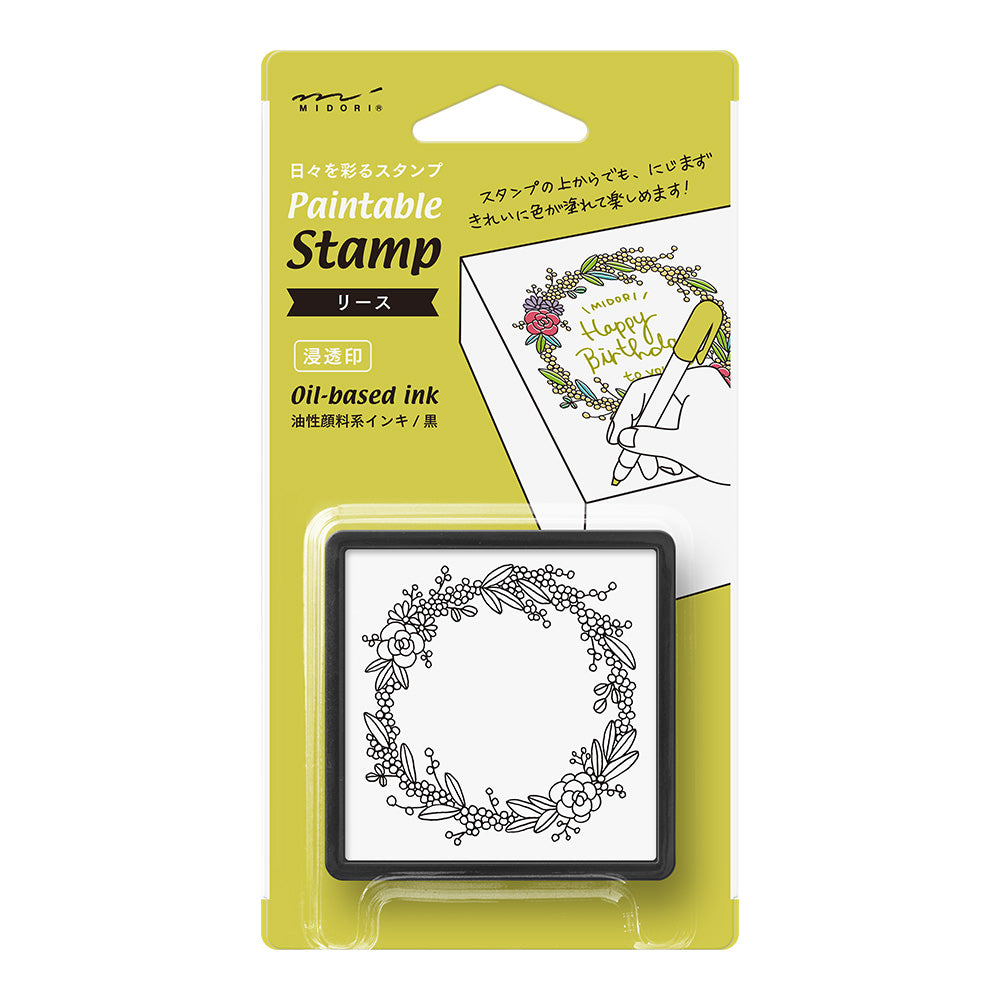 Midori Pre-Inked Paintable Stamp - Wreath
