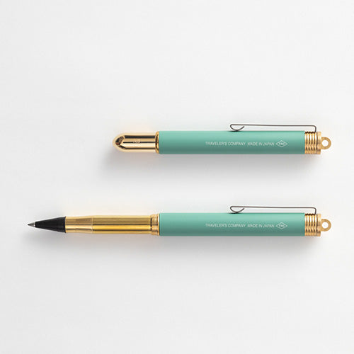 Traveler's Company [LIMITED EDITION] TRC BRASS Rollerball Pen Factory Green - Traveler's Notebook