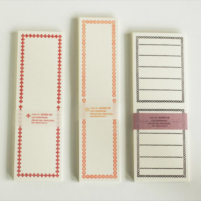 Classiky Blank Letterpress Folded Memo Note Cards - Red Border