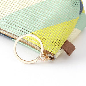 Midori Mesh Graphics Pen Case - Stripe Yellow Green