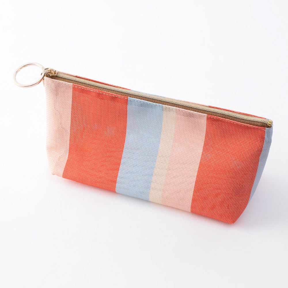 Midori Mesh Graphics Gusset Pouch - Stripe Red