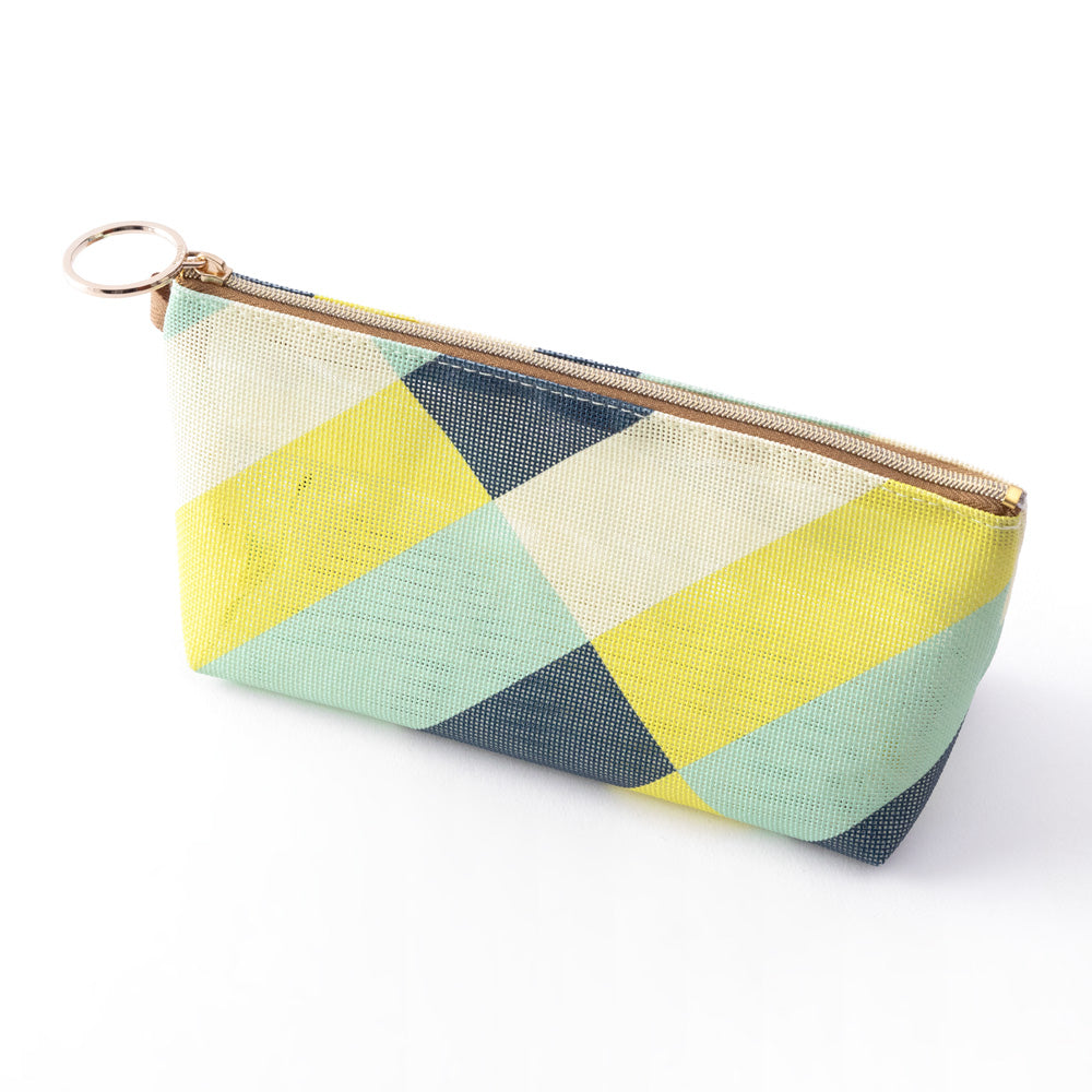 Midori Mesh Graphics Gusset Pouch - Stripe Yellow Green