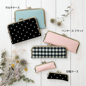 Flat Pen Case with Clasp Closure Metal Frame - Dot Pattern