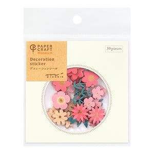 Midori Paper Craft Museum Stickers - Decoration Flower Red