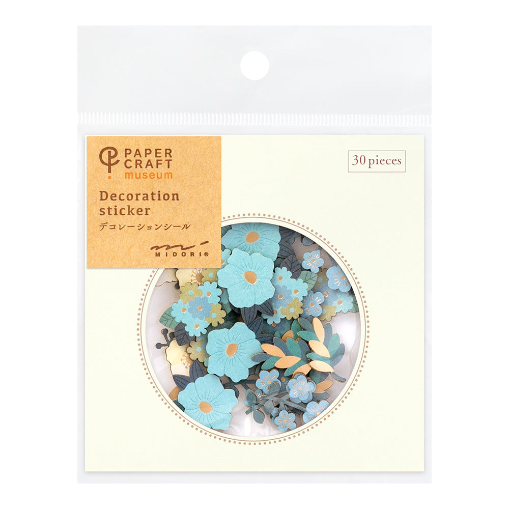 Midori Paper Craft Museum Stickers - Decoration Flower Blue