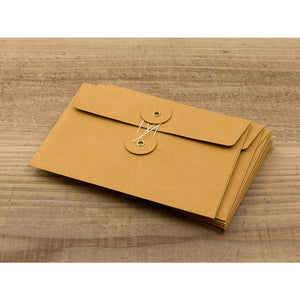 Midori Kraft Envelope Horizontal with String M - Orange