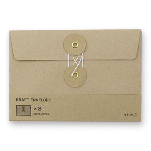 Midori Kraft Envelope Horizontal with String M - Brown