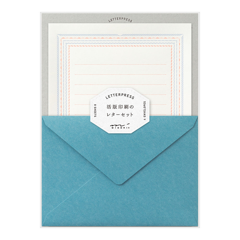 Midori Letter Writing Set -  Letter Set 463 Press Frame Blue