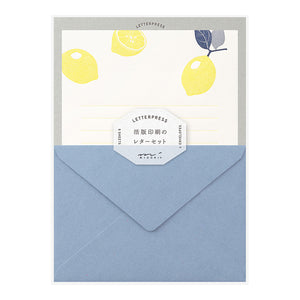Midori Letter Writing Set -  Letter Set 476 Letterpress Lemon