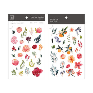 MU Print On Sticker Transfer - Red Blooms and Plants - BPOP-001070