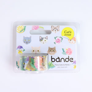 BANDE Paris Cats and Herbs BDA 314 Washi Paper Sticker Roll