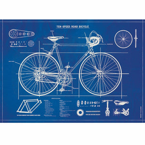 Cavallini Poster Wrap - Bicycle Blueprint
